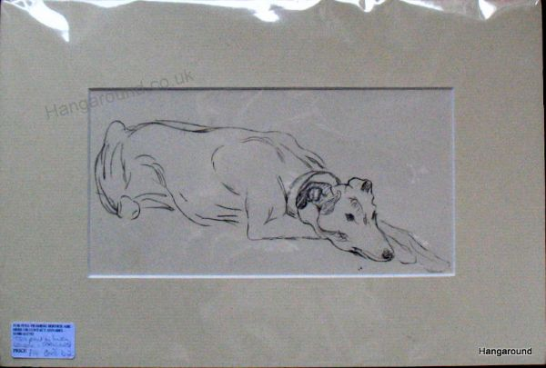 Greyhound - lying down - Gre D2 -  1930's print by Lucy Dawson